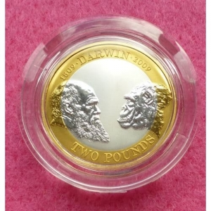 2009 CHARLES DARWIN SILVER PROOF TWO POUND COIN (2)