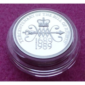 1989 PIEDFORT BILL OF RIGHTS SILVER PROOF TWO POUND COIN