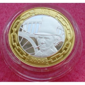2006 BRUNEL SILVER PIEDFORT TWO POUND PROOF COIN