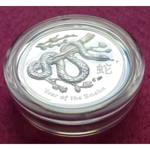 2013 Australia Lunar Year Of Snake High Relief Proof 1oz Silver Coin Perth Mint