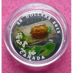 2015 CANADA MURANO GLASS TURLTE 20 DOLLAR SILVER PROOF COIN