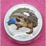 2015 TUVALU SILVER BLUE TONGUED LIZARD 1OZ COIN