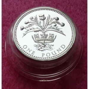 1984 PIEDFORT SCOTTISH THISTLE £1 SILVER PROOF COIN