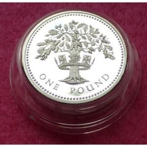 1987 PIEDFORT ENGLISH OAK £1 SILVER PROOF COIN