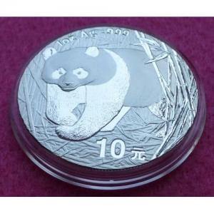 2002 CHINA SILVER PANDA  10 YUAN BU COIN (2)