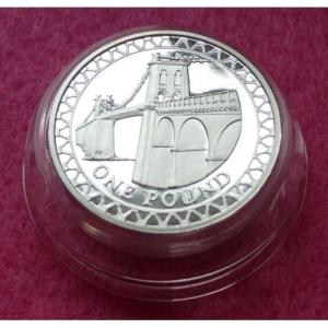 2005 PIEDFORT MENAI BRIDGE £1 SILVER PROOF COIN