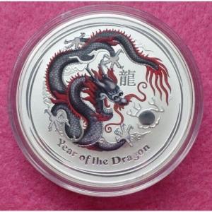 2012 AUSTRALIA  SILVER LUNAR DRAGON BLACK BU COIN