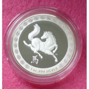 2014 AUSTRALIA LUNAR HORSE SILVER PROOF $1 DOLLAR PROOF COIN