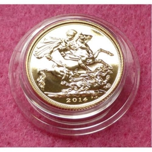2014 FULL GOLD SOVEREIGN, STUCK ON PRINCE GEORGE 1ST BIRTHDAY