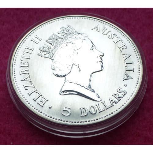 1990 Australia Kookaburra Silver Five Dollar 1oz Bu Coin