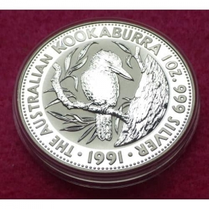 1991 KOOKABURRA SILVER BU COIN