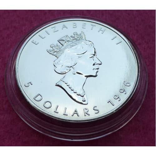 1996 Canada Maple Leaf 5 Five Dollar Silver Brilliant