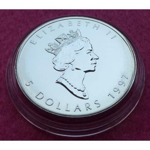 1997 Canada Maple Leaf 5 Five Dollar Silver Brilliant