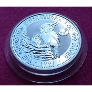 1997 SILVER KOOKABURRA FINLAND PRIVY $1 COIN