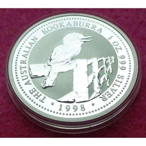 1998 Australia Kookaburra Silver One Dollar 1oz Bu Coin