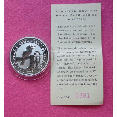 1998 Australia Kookaburra Austria Privy Mark One Dollar