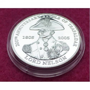 2005 TDC HORATIO NELSON 1 CROWN SILVER PROOF COIN