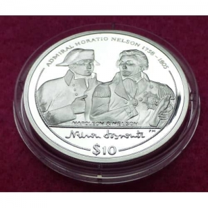 2005 VIRGIN ISLANDS NAPOLEON AND NELSON $10 SILVER PROOF COIN