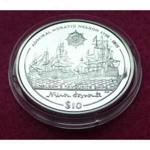 2005 VIRGIN ISLANDS NELSON'S FAVOURITE SHIP $10 SILVER PROOF COIN