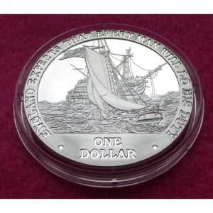 2007 COOK ISLANDS  HMS PICKLE  $1 SILVER PROOF COIN