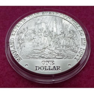 2007 COOK ISLANDS  LAST SIGNAL AT TRAFALGAR  $1 SILVER PROOF COIN