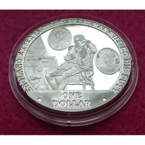 2007 COOK ISLANDS  NELSON, EMMA AND HORATIA  $1 SILVER PROOF COIN