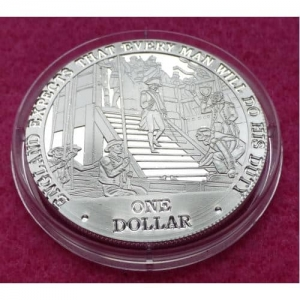 2007 COOK ISLANDS  NELSON LEAVING PORTSMOUTH  $1 SILVER PROOF COIN
