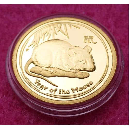 2008 Australia Gold Lunar Year Of The Mouse 1 10th 15