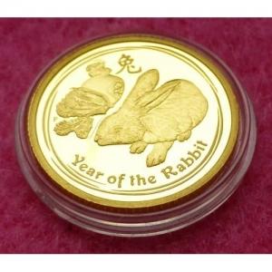 2011 AUSTRALIA GOLD LUNAR RABBIT $15 PROOF COIN (3)