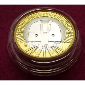 2013 PIEDFORT LONDON UNDERGROUND TRAIN SILVER PROOF TWO POUND COIN (2)