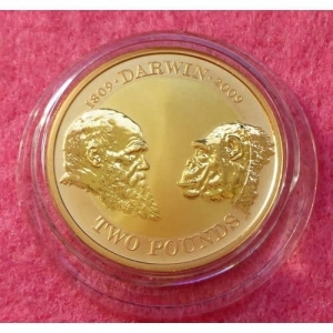 2009 GOLD CHARLES DARWIN £2 PROOF COIN
