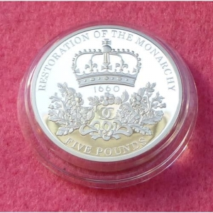 2010 PIEDFORT RESTORATION OF THE MONARCHY £5 SILVER PROOF COIN