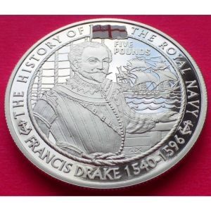 2003 JERSEY ROYAL NAVY SIR FRANCIS DRAKE £5 SILVER PROOF COIN