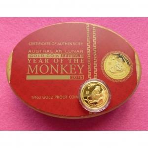 2016 AUSTRALIA GOLD LUNAR MONKEY $25 PROOF COIN