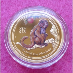 2015 AUSTRALIA GOLD COLOUR LUNAR MONKEY $25 PROOF COIN