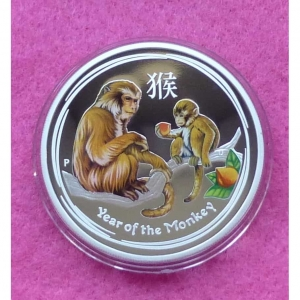 2016 AUSTRALIA LUNAR MONKEY $1 SILVER PROOF COLOUR COIN (4)