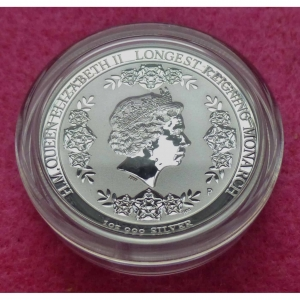 2015 AUSTRALIA INTAGLIO LONGEST REIGNING MONARCH $1 SILVER PROOF COIN