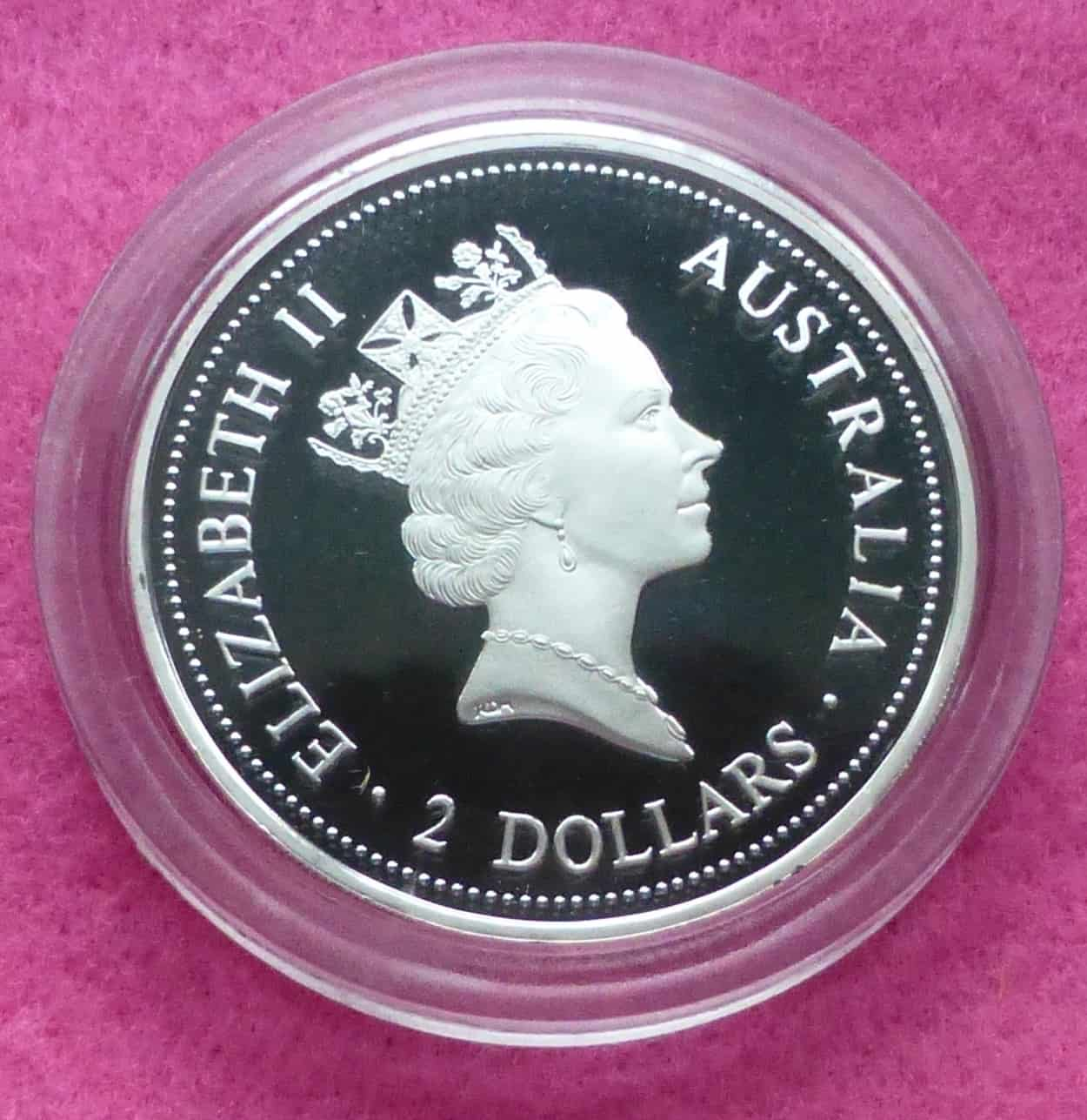 1994 Kookaburra 2oz Silver Proof 2 Two Dollar Coin The