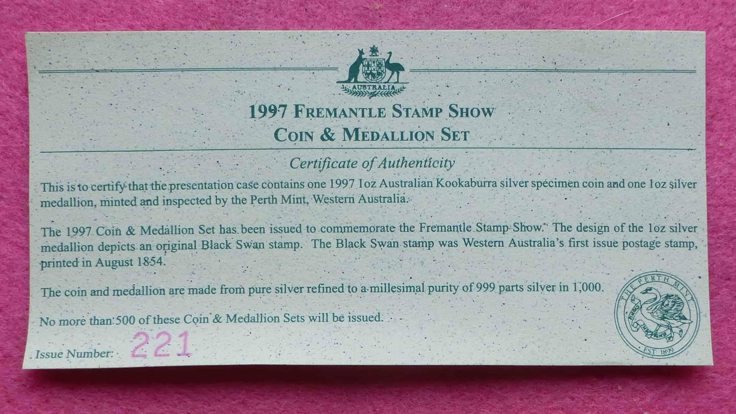 1997 Kookaburra 1oz Silver Proof Coin With 1oz Silver
