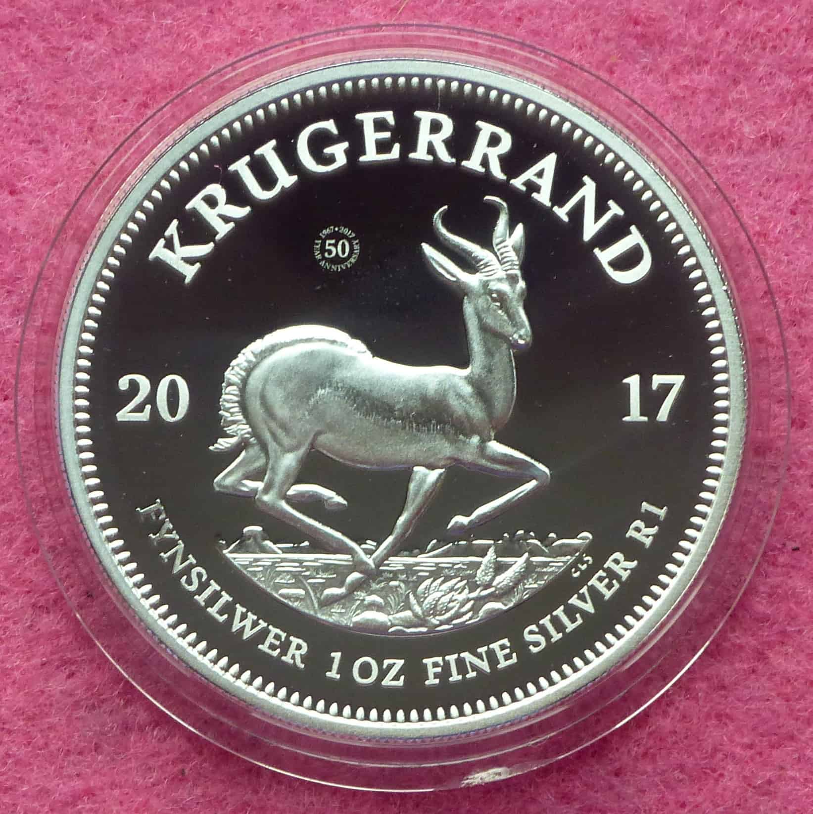 2017 Silver Proof Krugerrand 50th Anniversary 1oz Coin Box