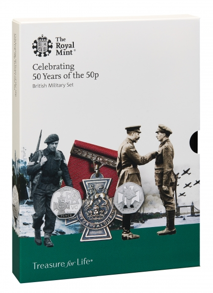 The 50th Anniversary of the 50p 2019 UK 50p Coin Set MILITARY outer box front UK195MBP