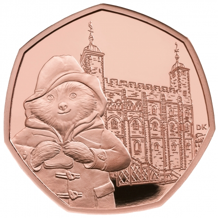 Paddington™ at the Tower 2019 United Kingdom Gold Proof Coin reverse....