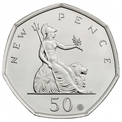 50 Years of the 50p 2019 UK 50p Brilliant Uncirculated Coin reverse