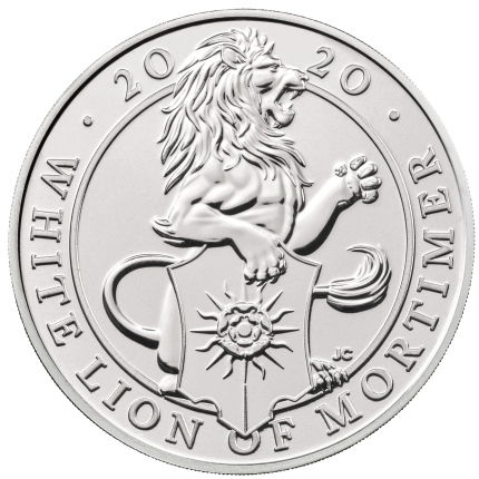 The Queen's Beasts The White Lion of Mortimer 2020 UK £5 Brilliant Uncirculated Coin reverse - UK20QWBU