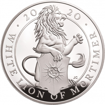 The Queen's Beasts The White Lion of Mortimer 2020 UK Five-Ounce Silver Proof Coin reverse - UK20QWS5