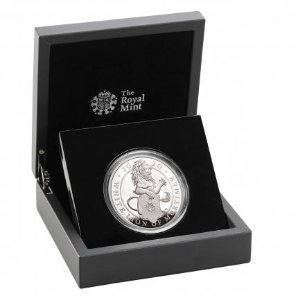 The Queen's Beasts The White Lion of Mortimer 2020 UK Five-Ounce Silver Proof Coin reverse in case right - UK20QWS5