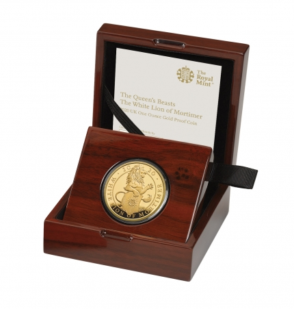 The Queen's Beasts The White Lion of Mortimer 2020 UK One Ounce Gold Proof Coin reverse in case left - UK20QWGP