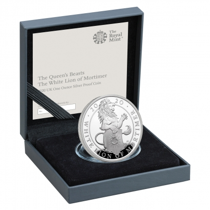 The Queen's Beasts The White Lion of Mortimer 2020 UK One Ounce Silver Proof Coin reverse in case right - UK20QWSP
