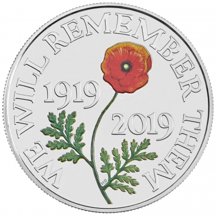 The Remembrance Day 2019 UK £5 Brilliant Uncirculated Coin reverse