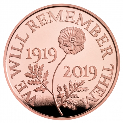 The Remembrance Day 2019 UK £5 Gold Proof Coin reverse - UK19RDGP